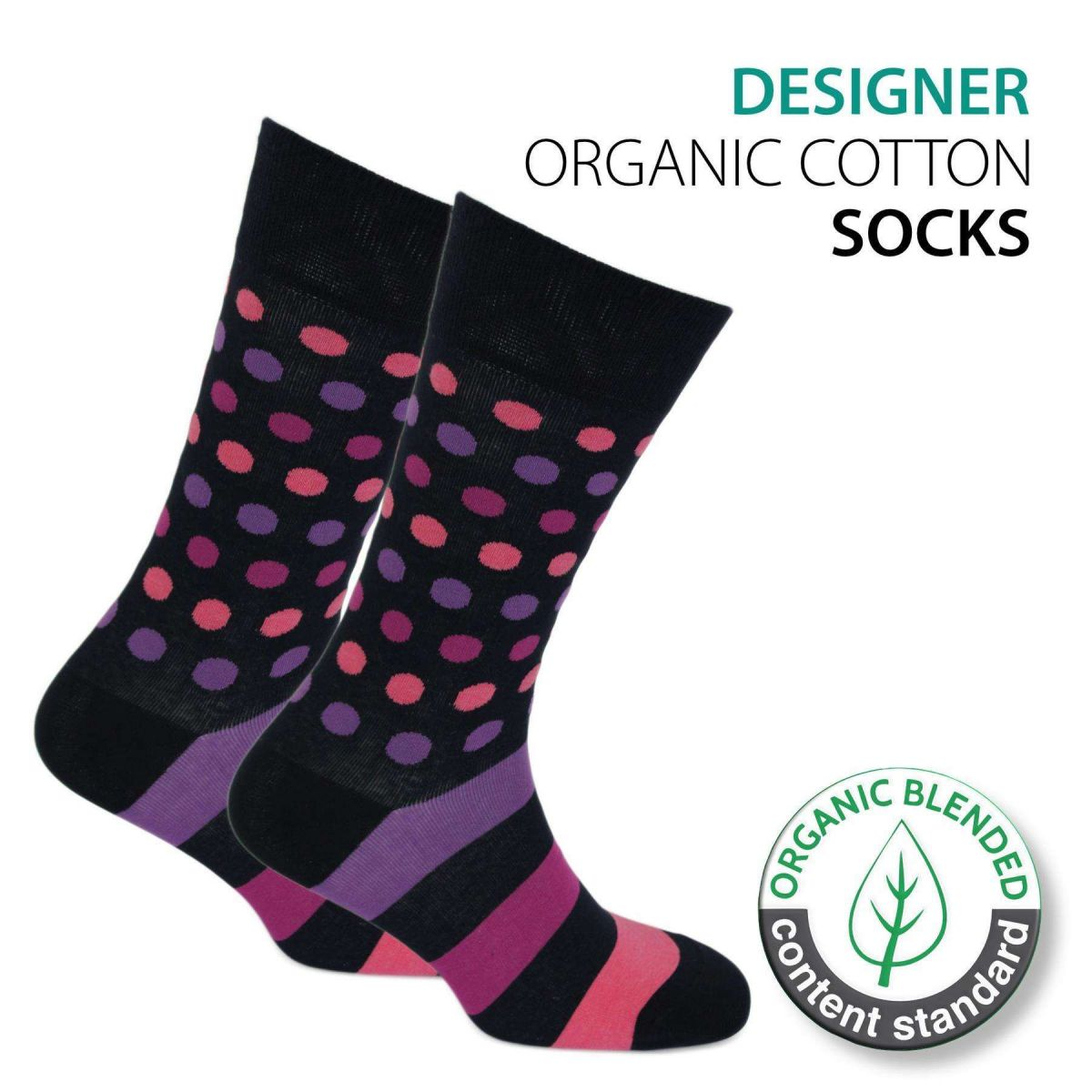 Certified Organic Patterned Cotton Socks - 063