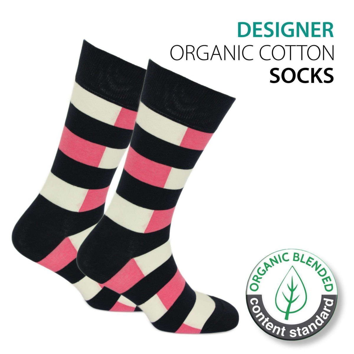 Certified Organic Patterned Cotton Socks - 061