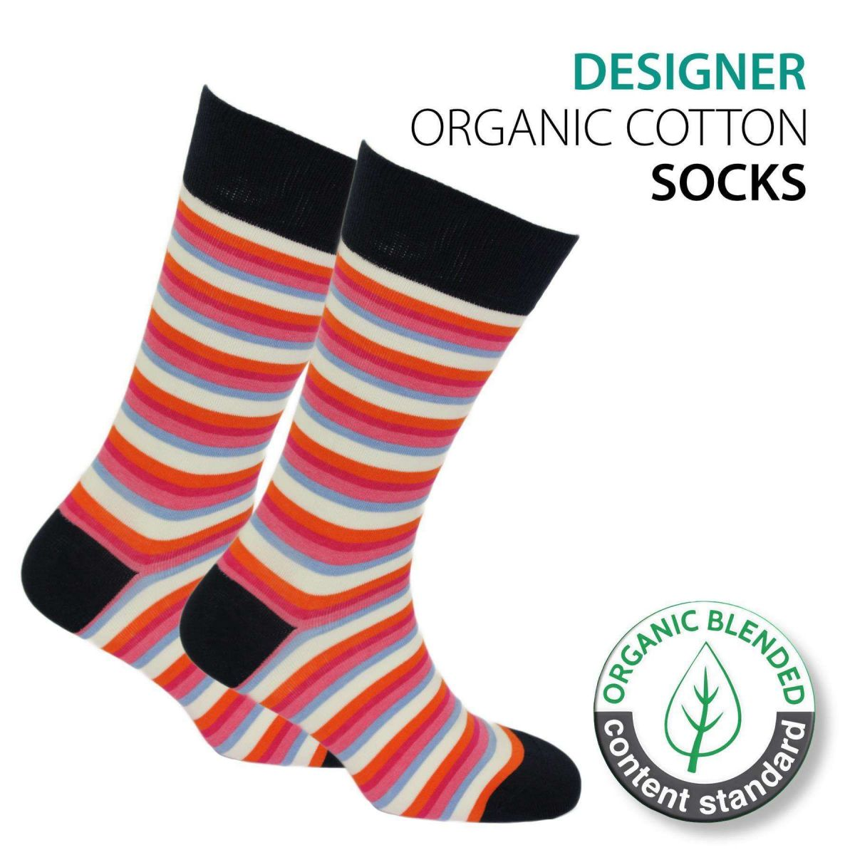 Certified Organic Patterned Cotton Socks - 066