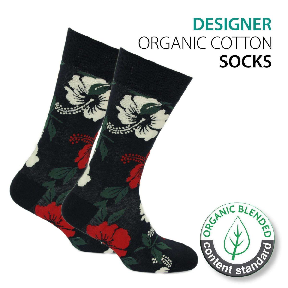 Certified Organic Patterned Cotton Socks - 065